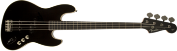 Fender Aerodyne Jazz Bass, Rosweood Stained Fingerboard, Black, No Pickguard