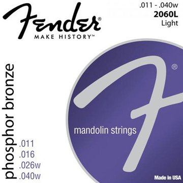 Fender snarenset mandoline, phosphor bronze, light, 011-016-026w-040w loop end F-2060L
