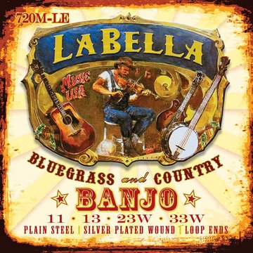 LaBella snarenset tenor banjo, silver plated steel wound, loop ends, medium, 011-013-023-033 L-720M-LE