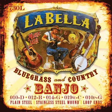 LaBella snarenset banjo 5-snarig, silver plated steel wound, loop ends, light, 010-012-014-019-010 L-730L