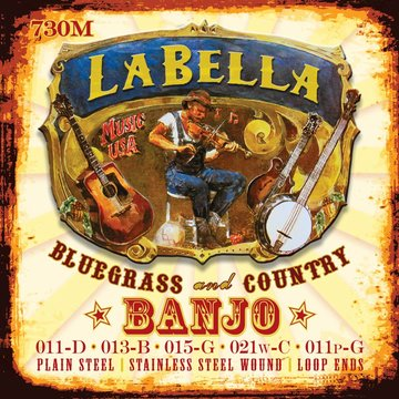 LaBella snarenset banjo 5-snarig, silver plated steel wound, loop ends, medium, 011-013-015-021-011 L-730M