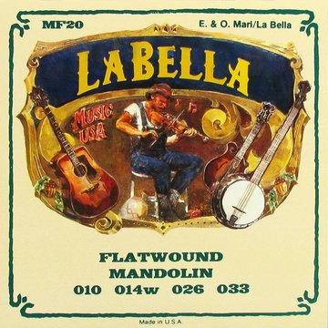 LaBella snarenset mandoline, stainless steel flatwound, loop ends, 010-020W-026W-033 (2x elk) L-MF20