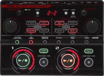 Boss RC-202 Loop Station, 64 memories, 2 independent tracks, XLR Mic input, table top