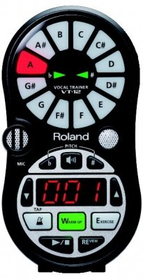 Roland VT-12-BK Vocal Trainer, Pitch detector (2 Voices), onboard audio exercises, 50 lessons from Cocone (Berklee Press) onboard, black